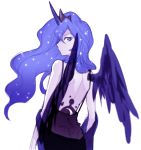 1girl back black_dress blue_eyes blue_hair crown dress feathered_wings frown horn long_hair looking_at_viewer looking_back luna_(my_little_pony) megarexetera my_little_pony my_little_pony_friendship_is_magic personification solo tattoo white_background wings