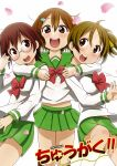 3girls :d ahenn brown_eyes brown_hair girl_sandwich glasses highres hirasawa_ui hirasawa_yui hug k-on! manabe_nodoka multiple_girls open_mouth sandwiched school_uniform serafuku short_hair smile title_parody younger
