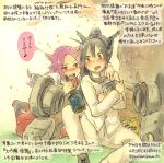 2girls alternate_costume black_hair bottle breasts cherry_blossoms colored_pencil_(medium) crossdressing drunk gloves hand_on_another's_shoulder headgear jun'you_(kantai_collection) kantai_collection kirisawa_juuzou long_hair looking_at_another multiple_girls nagato_(kantai_collection) personification purple_hair red_eyes sake_bottle school_uniform traditional_media translated violet_eyes