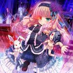 >:) 1girl blue_eyes blush brown_hair fang fang_out flaming_eye gothic_lolita heterochromia highres himedatsu!_dungeons_lord kazumasa lolita_fashion long_hair looking_at_viewer puppet puppet_strings red_eyes smile solo