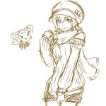 1girl bare_shoulders eyelashes fashion gacchahero happy hat heartcatch_precure! looking_at_viewer monochrome myoudouin_itsuki potpourri_(heartcatch_precure!) precure scarf shorts simple_background sketch smile solo sweater tagme white_background