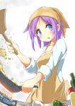 1girl apron bandana blue_eyes cooking fisheye frying_pan hiiragi_tsukasa lucky_star purple_hair short_hair suno-pi