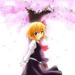 1girl ascot blonde_hair blouse cherry_blossoms cherry_trees hair_ribbon red_eyes ribbon rody_(hayama_yuu) rumia short_hair skirt smile touhou vest