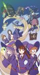 >:) 6+girls akko_kagari barbara_(little_witch_academia) belt creature diana_cavendish dragon glasses hanna_(little_witch_academia) hat little_witch_academia lotte_yanson minotaur multiple_girls potion skull smile sucy_manbabalan teacher_(little_witch_academia) wand witch witch_hat