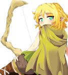 1girl blonde_hair bow_(weapon) brown_legwear cape dragon's_crown elf_(dragon's_crown)_(cosplay) green_eyes karatakewari looking_at_viewer looking_back mizuhashi_parsee pointy_ears shorts solo thigh-highs touhou weapon