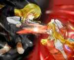 2girls :d battle black_wings blonde_hair blouse clash darkness dress ex-rumia flandre_scarlet long_hair mob_cap multiple_girls open_mouth red_eyes rody_(hayama_yuu) rumia serious side_ponytail skirt smile sparks sword touhou vest weapon wings