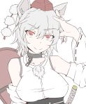 1girl animal_ears arm_at_side breasts collarbone detached_sleeves dog_collar hand_on_head hat highres inubashiri_momiji katana obi red_eyes sash shield short_hair smile solo sword tokin_hat touhou wavy_hair weapon white_clothes white_hair wide_sleeves