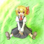 1girl :d ascot between_legs blonde_hair blouse fang grass hand_between_legs open_mouth red_eyes rody_(hayama_yuu) rumia short_hair sitting skirt smile touhou vest