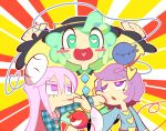 3girls arms_up blush_stickers expressionless eyeball green_eyes green_hair hairband hat hata_no_kokoro heart heart-shaped_pupils komeiji_koishi komeiji_satori kuchibashi_(9180) long_hair long_sleeves mask multiple_girls open_mouth pinching pink_eyes pink_hair plaid plaid_shirt punching purple_hair red_eyes ribbon shirt short_hair siblings sisters skirt smile symbol-shaped_pupils third_eye touhou very_long_hair violet_eyes