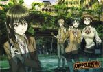 1boy 3girls bag black_hair blue_eyes bowtie brown_eyes brown_hair cardigan cityscape coppelion copyright_name explosive food fukasaku_aoi glasses gloves green_hair green_skirt grenade gun hand_on_hip hand_on_shoulder handgun ivy kurosawa_haruto loafers logo long_hair luger_p08 multiple_girls naruse_ibara nature necktie nomura_taeko official_art onigiri open_mouth pale_skin plaid plaid_skirt plant pleated_skirt red-framed_glasses ruins scan scenery school_uniform shoes short_hair short_ponytail shoulder_bag silver_hair skirt sleeves_rolled_up smile striped striped_bowtie striped_necktie sweater_vest traffic_light weapon