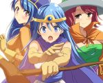 3girls blue_eyes blue_hair blush brown_eyes cape circlet dragon_quest dragon_quest_iii elbow_gloves gloves hat hyakuen_raitaa light_smile long_hair looking_at_viewer mage_(dq3) multiple_girls priest_(dq3) redhead sage_(dq3) staff white_background witch_hat
