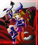 bare_shoulders blonde_hair cosplay crossover dark_magician_girl dark_magician_girl_(cosplay) flandre_scarlet halloween hat ponytail red_eyes sd-sos short_hair side_ponytail solo touhou wings yu-gi-oh! yuu-gi-ou yuu-gi-ou_duel_monsters