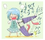 anger_vein angry blue_hair broken chibi dress geta karakasa_obake lowres solo tantrum tatara_kogasa touhou translated umbrella viva!!