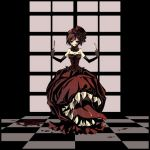 bad_id blood brown_eyes brown_hair checkered checkered_floor dress elbow_gloves flower fork gloves gothic_lolita hair_flower hair_ornament hat knife komiki2gou lolita_fashion meiko monster red_dress rose saliva short_hair smile solo tongue top_hat vocaloid