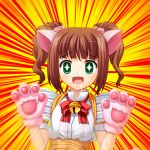 animal_ears bad_id brown_hair cat_ears cat_paws fujimiya_yuu green_eyes idolmaster open_mouth paws saliva scrunchie short_hair solo takatsuki_yayoi twintails waitress