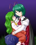 antenna antennae ascot cape green_eyes green_hair kazami_yuuka kazami_yuuka_(pc-98) long_hair multiple_girls plaid_pants plaid_vest role_reversal short_hair supon time_paradox touhou touhou_(pc-98) wriggle_nightbug