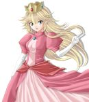 crown dress elbow_gloves gloves green_eyes highres jewelry long_hair nintendo open_mouth princess_peach smile solo super_mario_bros. tamamon