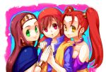 bracelet brown_hair circlet dragon_quest dragon_quest_viii earrings green_eyes hero_(dq8) jessica_albert jewelry long_hair medea red_hair redhead twintails yellow_eyes zakki