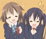 black_hair brown_hair closed_eyes core_(artist) food hirasawa_yui k-on! long_hair multiple_girls nakano_azusa school_uniform short_hair sweet_potato twintails yakiimo yam