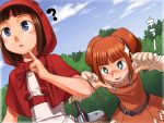 +_+ 2girls ? amami_haruka bare_shoulders basket big_bad_wolf big_bad_wolf_(cosplay) big_bad_wolf_(grimm) blush brown_hair cape cosplay dress ginger_(pixiv) green_eyes grimm's_fairy_tales hood idolmaster little_red_riding_hood little_red_riding_hood_(cosplay) little_red_riding_hood_(grimm) multiple_girls purple_eyes saliva short_hair takatsuki_yayoi twintails violet_eyes you_gonna_get_raped