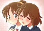 brown_eyes brown_hair chunpai closed_eyes hirasawa_ui hirasawa_yui hug hug_from_behind k-on! multiple_girls open_mouth ponytail school_uniform short_hair siblings sisters