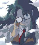 1girl glasses half_opaque_glasses long_hair looking_at_viewer lowres oekaki paper read_or_die shimamura_(quart_stp) shirt smile solo vest yomiko_readman