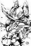 bandages dice eyepatch fang inkblot kantai_collection monochrome mouth_hold rokumen_saikoro school_uniform sword tenryuu_(kantai_collection) traditional_media weapon