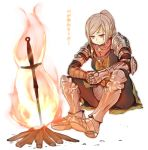 1girl armor blonde_hair bonfire chainmail dark_souls fire full_armor gauntlets greaves long_hair minatsuki_randoseru ponytail simple_background sitting solo souls_(from_software) sword translated weapon white_background