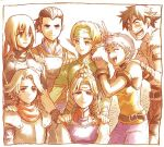 3girls 4boys :d armlet armor blonde_hair blue_eyes bracelet breastplate brown_eyes brown_hair capelet closed_eyes elf facial_mark forehead_mark forehead_protector gensou_suikoden gensou_suikoden_iv green_eyes hand_on_another's_shoulder headband jewel_(suikoden) jewelry katarina keneth kinfo lazlo lowres multiple_boys multiple_girls open_mouth paula_(suikoden) pointy_ears short_hair silver_hair smile snowe_vingerhut spaulders v v_(bunny_ears)