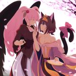 2girls animal_ears blue_eyes blush bow breasts brown_hair cat_ears cat_tail cherry_blossoms choker cleavage dress evil000000s eye_contact fan hair_ornament highres long_hair looking_at_another multiple_girls parted_lips pink_eyes pink_hair shikihime_zoushi smile tail tail_bow twintails untying wings yuri