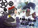 2girls akemi_homura armor black_hair blue_eyes blue_hair crown dress gears hair_ornament hairclip homulilly long_hair mahou_shoujo_madoka_magica mahou_shoujo_madoka_magica_movie mermaid miki_sayaka monster_girl multiple_girls musical_note oktavia_von_seckendorff personification rinko-h short_hair spoilers staff stocks tears translated witch_(madoka_magica) wreath