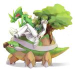 1boy bulbasaur crossover green_hair green_skin k_(chissaiossan) kill_la_kill long_coat pokemon pokemon_(creature) red_eyes sanageyama_uzu sceptile torterra tree