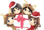 4girls animal_costume antlers bare_shoulders brown_hair detached_sleeves double_bun glasses hair_ornament hairband haruna_(kantai_collection) hat headgear hiei_(kantai_collection) japanese_clothes kantai_collection kirishima_(kantai_collection) kongou_(kantai_collection) long_hair looking_at_viewer michibata5656 multiple_girls nontraditional_miko personification reindeer_antlers reindeer_costume round_glasses santa_costume santa_hat younger