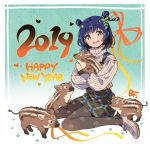 1girl 2019 :d animal aqua_background artist_name bangs bf._(sogogiching) black_legwear blue_hair blush boar commentary_request double_bun dress hair_ornament happy_new_year heart high_heels holding holding_animal leaf_hair_ornament long_sleeves looking_at_viewer new_year open_mouth original pantyhose paw_print pinafore_dress plaid plaid_dress print_legwear ribbed_sweater shoes short_hair smile solo sweater turtleneck turtleneck_sweater white_footwear white_sweater yellow_eyes