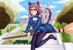 absurdres animal_ears beargguy_iii bench black_legwear broom brown_eyes brown_hair cat_ears cat_tail clouds crotch_seam glasses gundam gundam_build_fighters hairband hayami_jin highres kousaka_china looking_at_viewer military military_uniform panties panties_under_pantyhose pantyhose perrine_h_clostermann_(cosplay) short_hair sky stairs strike_witches tail traditional_media tree underwear uniform