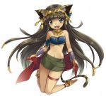 1girl :3 animal_ears anklet bandeau bare_shoulders barefoot bastet_(p&d) brown_hair cat_ears cat_tail fang gauntlets green_eyes hair_ornament jewelry kneeling long_hair looking_at_viewer midriff narumizg navel necklace open_mouth puzzle_&_dragons sash shiny shiny_skin simple_background skindentation skirt smile solo tail thigh_gap tubetop very_long_hair white_background