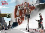 character_request highres kiyama_harumi kongou_mitsuko konori_mii mecha misaka_mikoto motor_vehicle motorcycle road saten_ruiko sengoku_chidori shirai_kuroko smoke telestina_kihara_lifeline to_aru_kagaku_no_railgun to_aru_majutsu_no_index uiharu_kazari vehicle