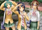 3girls bag black_hair blazer blue_eyes bowtie brown_eyes brown_hair cardigan cellphone coppelion fukasaku_aoi glasses green_eyes green_hair green_skirt hand_on_forehead highres long_hair multiple_girls naruse_ibara necktie nomura_taeko open_mouth outdoors phone plaid plaid_skirt plant railing red-framed_glasses ruruki school_uniform shirt short_hair shoulder_bag skirt sleeves_rolled_up smile striped striped_bowtie striped_necktie traditional_media white_shirt