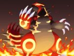 claws glowing glowing_eyes groudon molten_rock monster nekomissile no_humans omega_symbol pokemon pokemon_(creature) pokemon_(game) pokemon_oras primal_groudon sharp_teeth solo spikes tail