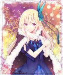 1girl benya_(tales_weaver) blonde_hair blue_dress butterfly_hair_ornament cape dress frame hair_ornament hands_together long_hair pink_eyes smile solo tales_weaver very_long_hair yuya_(night_lily)