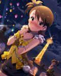 2girls artist_request balloons blush brown_hair dress futami_ami futami_mami idolmaster idolmaster_million_live! lights night purple_eyes short_hair shy side_ponytail tower