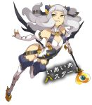1girl ban chaos_code cthylla_(chaos_code) eyebrows grin horns leaning_forward long_hair navel smile solo translation_request wand white_hair wings yellow_eyes
