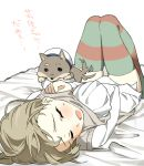 1girl bed bed_sheet blush braid brown_legwear dog ears green_legwear hat knees_together_feet_apart kuji_kanesada long_hair lynette_bishop open_mouth panties shiba_inu shirt simple_background sleeping strike_witches striped striped_legwear sweat sweatdrop tail tail_wagging thigh-highs translation_request underwear vest vest_lift white_background white_panties white_shirt