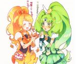 2girls arm_warmers bee blonde_hair blush bubble_skirt closed_eyes crossover cure_honey cure_march detached_sleeves dress fingerless_gloves gloves green_dress green_eyes green_hair hair_ornament hair_ribbon happinesscharge_precure! hayashi_(kanzume) long_hair magical_girl midorikawa_nao multiple_girls oomori_yuuko open_mouth ponytail precure puffy_sleeves ribbon shirt simple_background skirt smile_precure! translation_request tri_tails very_long_hair vest white_background wrist_cuffs yellow_skirt