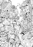 autobot battle building bumblebee cannon character_request city cybertron decepticon emblem energy energy_gun flying grimlock highres kim_yura_(goddess_mechanic) lineart mecha megatron metroplex monochrome optimus_prime robot shockwave_(transformers) soundwave starscream transformers ultra_magnus unicron weapon