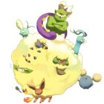 ^_^ altaria beak closed_eyes cottonee crossed_arms facial_hair fire flame flareon fur happy horns jumpluff mareep no_humans open_mouth pokemon pokemon_(creature) sheep simple_background smile swablu sweatdrop tail tornadus whimsicott white_background wings yellow_eyes