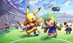 airship alternate_color bagon ball bulbasaur chespin endou_mamoru fennekin froakie helioptile highres ho-oh_(artist) inazuma_eleven inazuma_eleven_(series) litleo meowth no_humans pancham pokemon pokemon_(creature) pokemon_(game) pokemon_xy shiny_pokemon soccer soccer_ball soccer_uniform sportswear stadium
