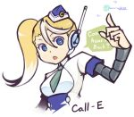 1girl alternate_color blonde_hair blue_eyes call_(mighty_no._9) call_e garrison_cap hat headset imaeda_koji long_hair lowres mighty_no._9 multicolored_hair necktie robot robot_joints side_ponytail solo two-tone_hair white_hair