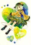 1girl bow flower green_eyes green_hair hat hat_bow heart heart_of_string highres komeiji_koishi rose shiroma_(mamiko) solo third_eye touhou wide_sleeves