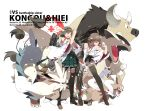 ahoge bare_shoulders brown_hair buizel character_request crossover detached_sleeves double_bun floatzel furret hairband hiei_(kantai_collection) japanese_clothes kangaskhan kantai_collection kongou_(kantai_collection) long_hair multiple_girls open_mouth personification plaid poke_ball pokemon short_hair siirakannu skirt smile tauros thigh-highs